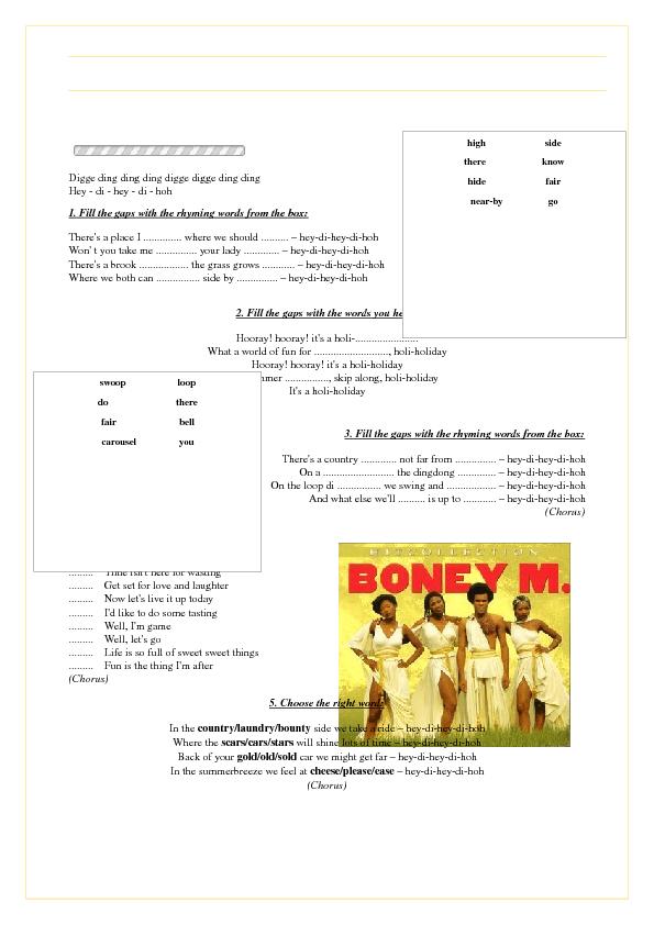 Worksheet: Hooray! Hooray! It\'s a Holi-Holiday by Boney M