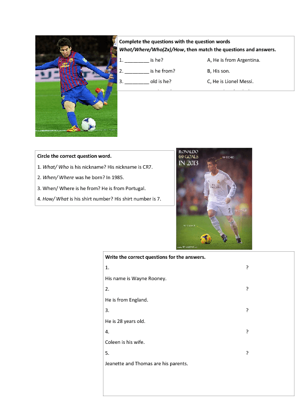 Football Player Facts to Practise Question Words