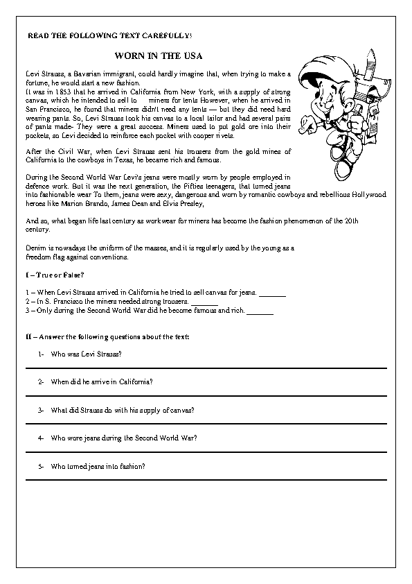 Worn In The Usa Reading Worksheet