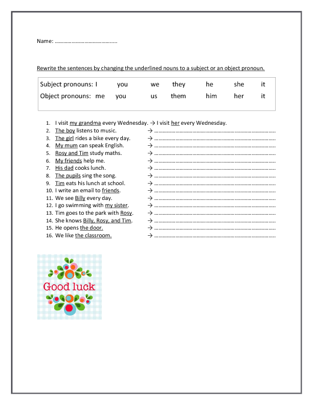 and Object Pronouns – Nouns and Pronouns Worksheet