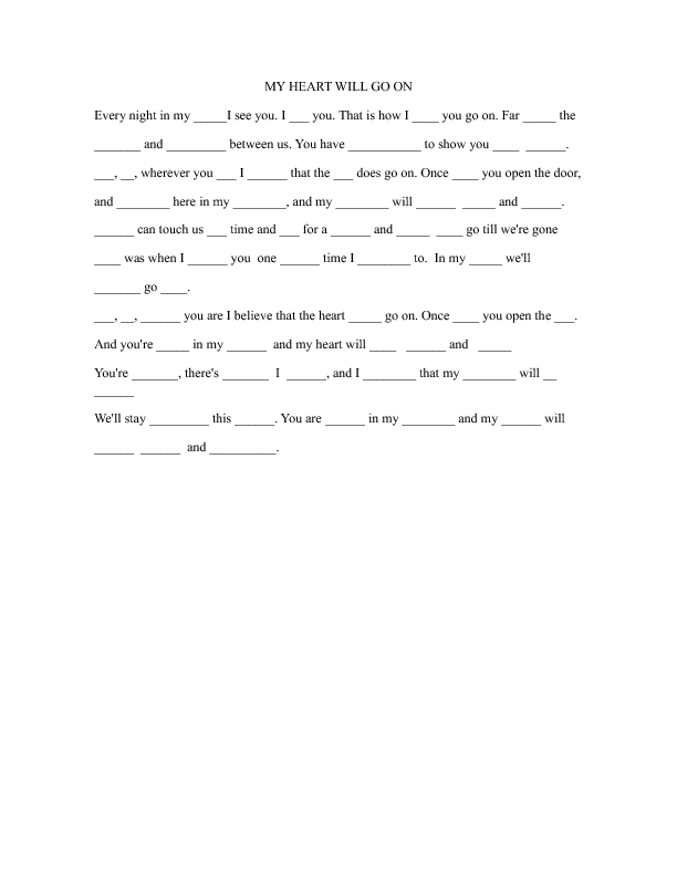 Song Worksheet My Heart Will Go