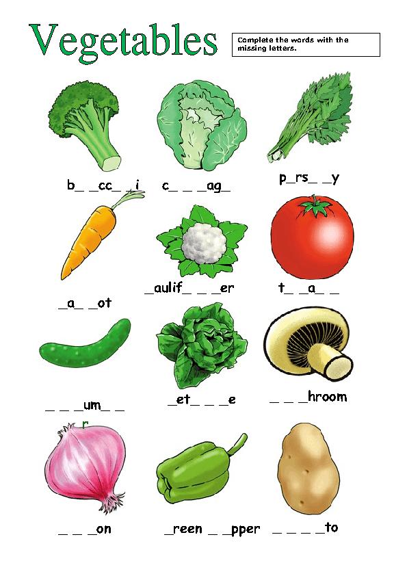 133 Free Fruit And Vegetables Worksheets