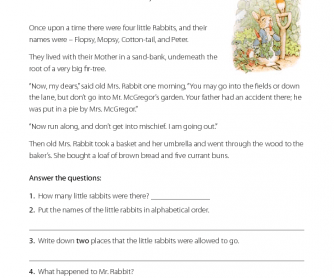 Reading Comprehension - The Tale of Peter Rabbit
