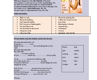Song Worksheet: Put Your Hearts up by Ariana Grande