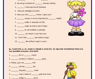 Articles / Countable and Uncountable Nouns Worksheet