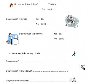 Do You- Household Jobs Worksheet