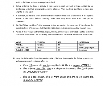 Song Worksheet: We Are One (2014 World Cup)