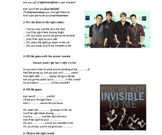 Song Worksheet: Invisible by Big Time Rush