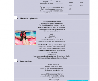 Song Worksheet: Summer Forever by Megan Nicole
