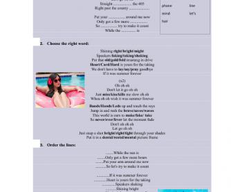 Song Worksheet: Summer Forever by Megan Nicole