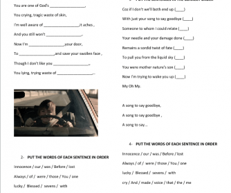 Song Worksheet: A Song to Say Goodbye by Placebo