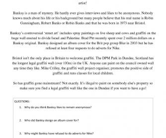 Bristol's Banksy Reading Worksheet