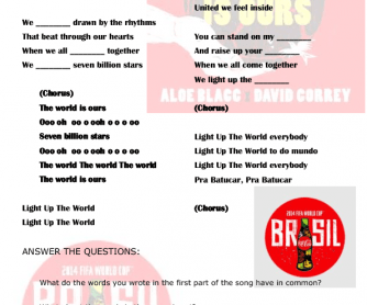 Song Worksheet: The World Is Ours