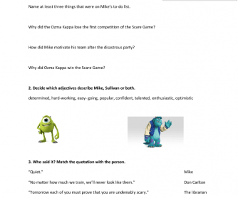 Movie Worksheet Monster University