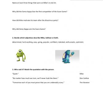 Movie Worksheet: Monster University