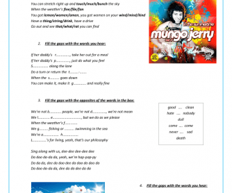 Song Worksheet: In the Summertime by Mungo Jerry