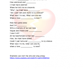 Song Worksheet: How Insensitive