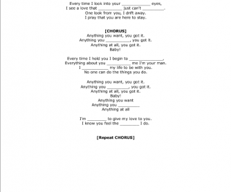 Song Worksheet: You Got It