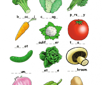 Vegetables Missing Letters Activity