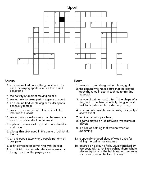 Modular Classroom Crossword : Sport crossword puzzle
