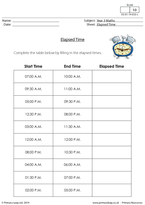 122 FREE Telling Time Worksheets And Activities – Elapsed Time Worksheet