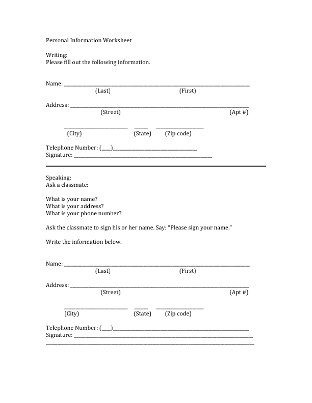 Worksheets Personal Information Worksheets beginners personal information practice