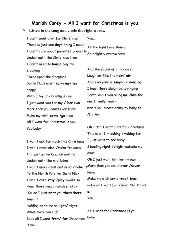 song worksheet all i want for christmas is you by mariah lyrics - All I Want For Christmas Is You Mariah Carey Lyrics