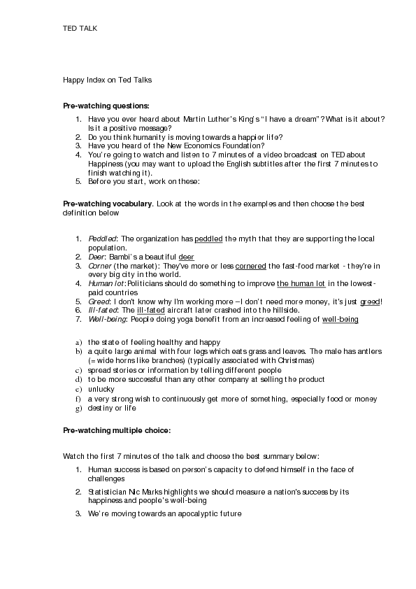 Worksheet: Happiness- TED