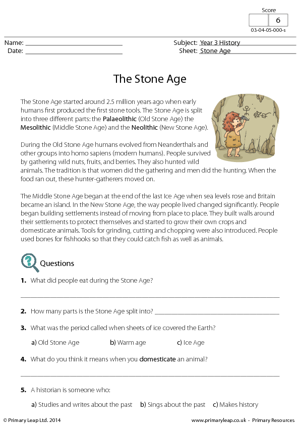 Reading Comprehension The Stone Age