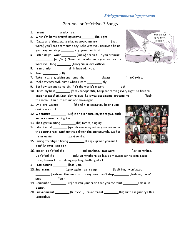 133 FREE Infinitive And Gerund Worksheets – Gerund Worksheet
