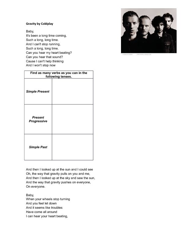 Song Worksheet Gravity By Coldplay Mixed Tenses Practice