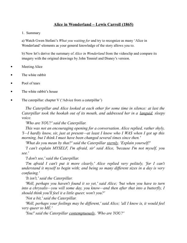 Worksheet: Alice in Wonderland
