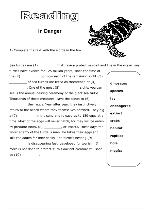 Worksheets Reading Vocabulary Worksheets in danger reading worksheet