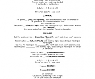 Song Worksheet: Chandelier by Sia