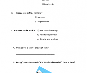 Movie Worksheet: Charlie Brown, It's Magic!