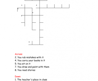 Classroom Objects Crossword