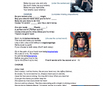 Song Worksheet: Dark Horse by Katy Perry
