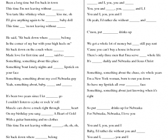 Song Worksheet: You & I by Lady Gaga (Pronoun)