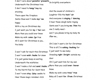 Song Worksheet: All I ... Mariah Carey Christmas Songs 2018