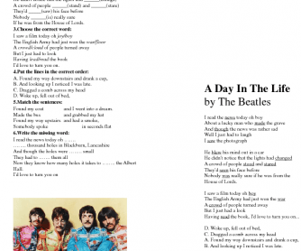 Song Worksheet: A Day in the Life by The Beatles