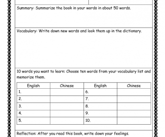 Reading Worksheet
