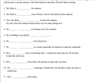Movie Worksheet: Mr. Bean Is Packing for a Trip