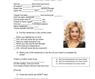 Song Worksheet: I Will Never Let You Down by Rita Ora