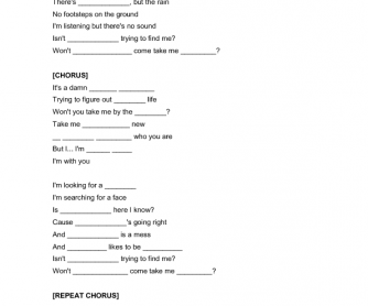 Song Worksheet: Some, Any, No