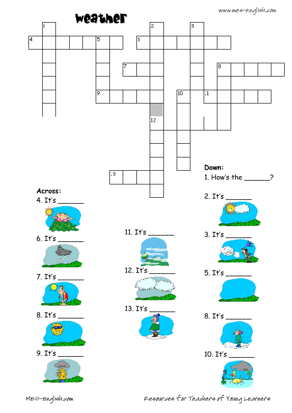 Modular Classroom Crossword ~ Weather handout