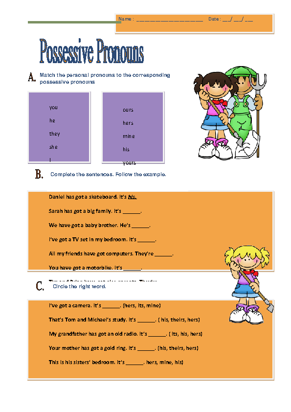 Possessive Pronouns Elementary Worksheet