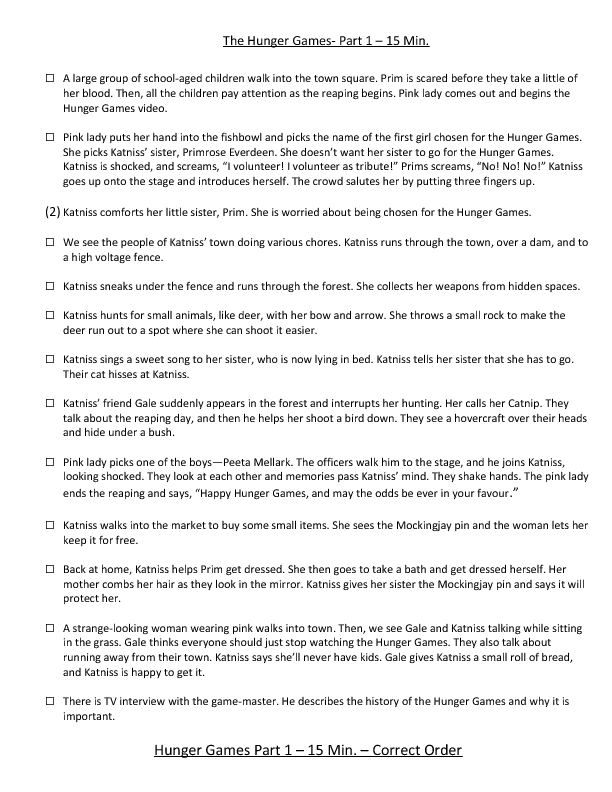 Printables Hunger Games Worksheets movie worksheet the hunger games part 1 scene re ordering