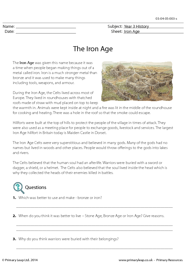 Reading Comprehension The Iron Age