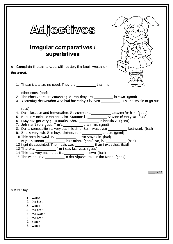 Comparatives and Superlatives Worksheet – Comparatives and Superlatives Worksheets