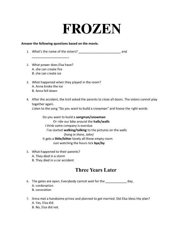 Movie Worksheet Frozen